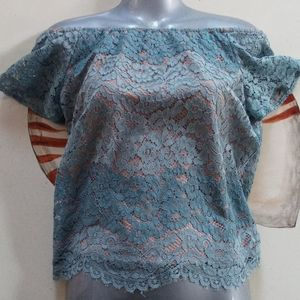 Wayf slate blue periwinkle blue lace overlay top